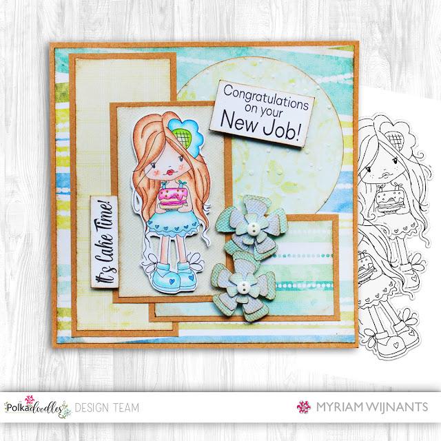 Handmade card Polkadoodles Holly Cake digital stamp