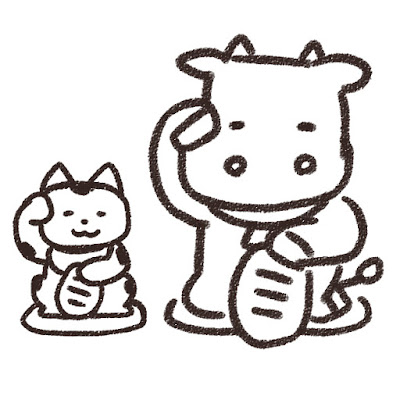 招き猫と牛のイラスト(丑年・白黒線画)