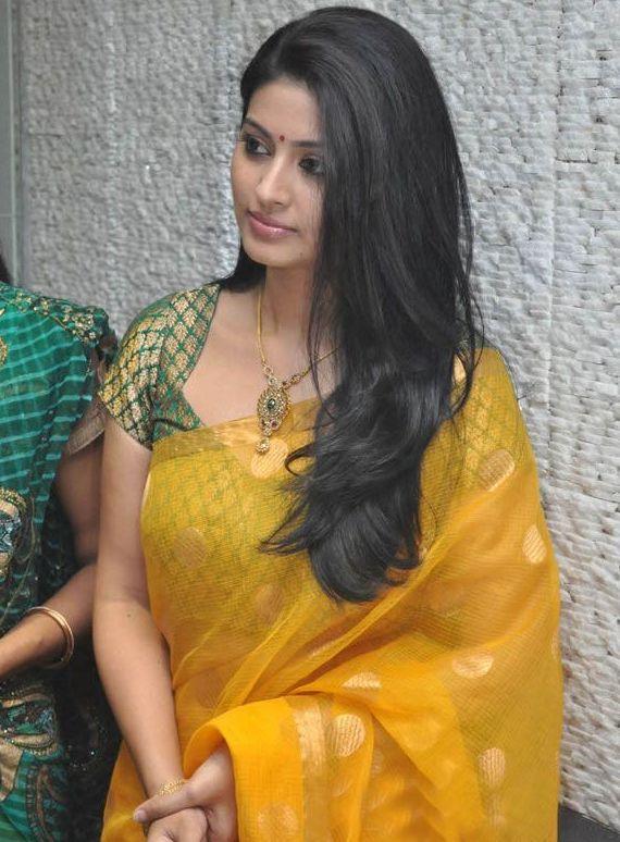 Telugu Chubby Girl Sneha Hip Navel Show Stills In Traditional Yellow Saree