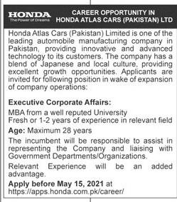 https://apps.honda.com.pk/career/ - Honda Atlas Cars Pakistan Jobs 2021 in Pakistan
