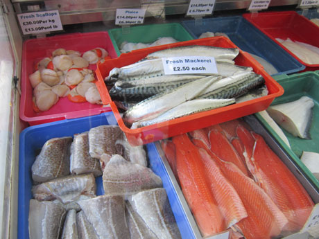 Fish on a market stall.