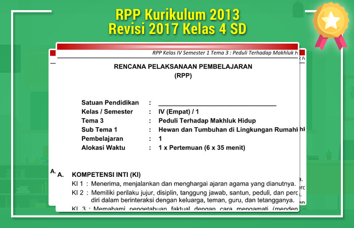 RPP Kurikulum 2013 Revisi 2017 Kelas 4 SD