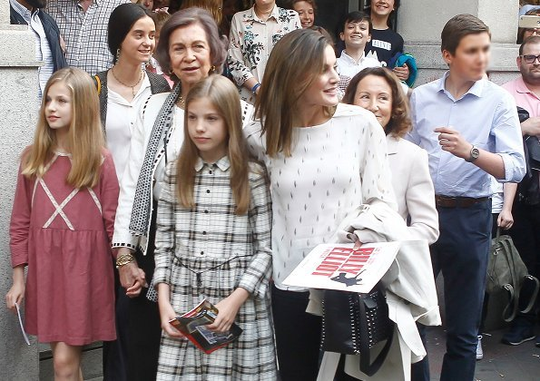 Queen Letizia, Queen Sofia, Princess Leonor, Infanta Sofia, Victoria Federica Marichalar and Irene Urdangarin watched Billy Elliot's musical theater play