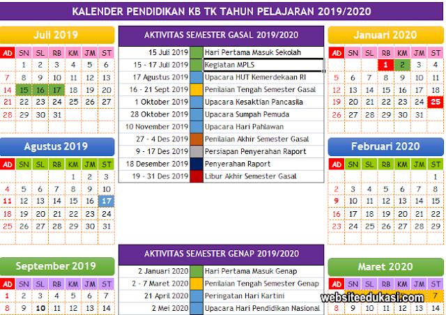 Kalender Pendidikan PAUD/TK Tahun 2019/2020