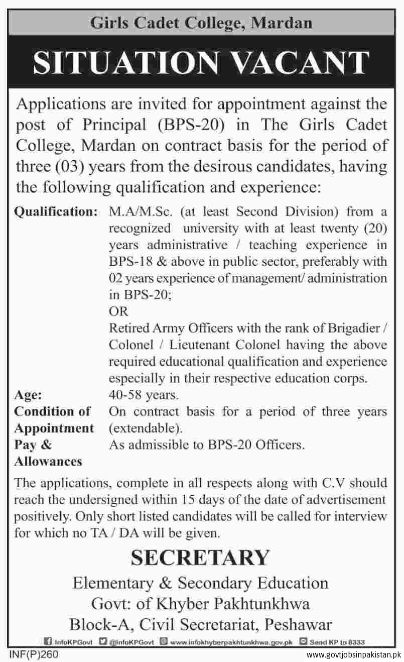 Girls Cadet College Mardan Jobs2