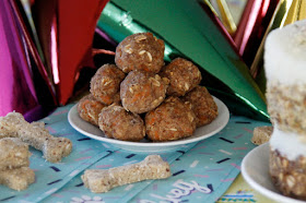 Homemade meatball dog treats on a birthday party buffet table