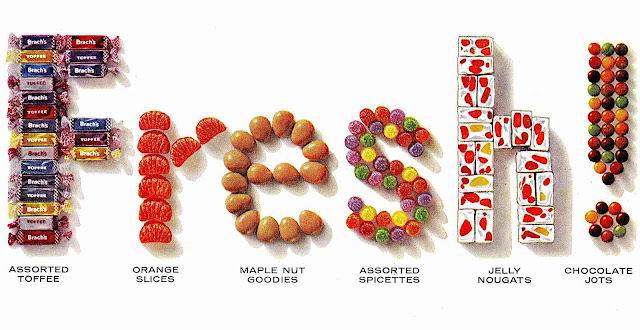 """1960 candy arranged to spell the word """"Fresh!"""", a color illustration"""