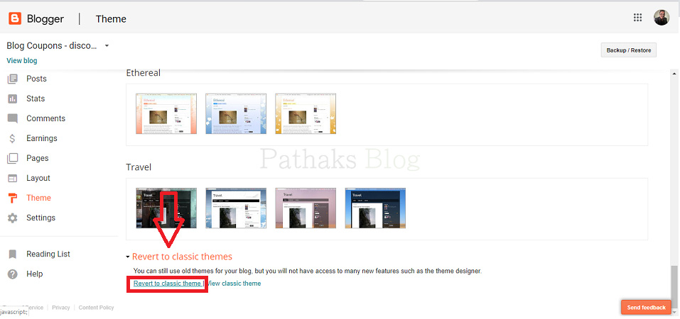 Host Website On Blogger, blogger revert to the classic theme setting, anil pathak, pathaks blog