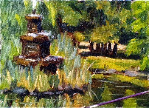 Oil painting of a three-tiered water fountain nestled amongst long grasses on an island on an ornamental lake and surrounded by lurid green trees.