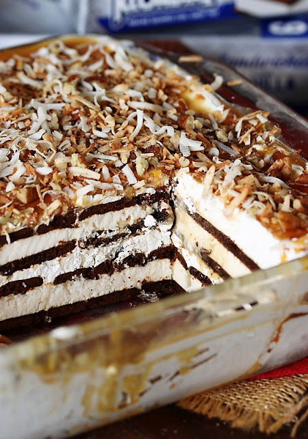 Cut Layers of Coconut-Caramel Ice Cream Sandwich Dessert Image