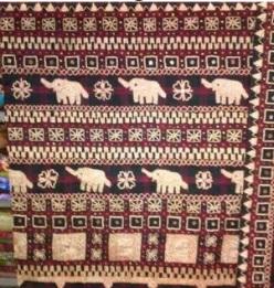 motif gajah pada tenun khas dari lampung