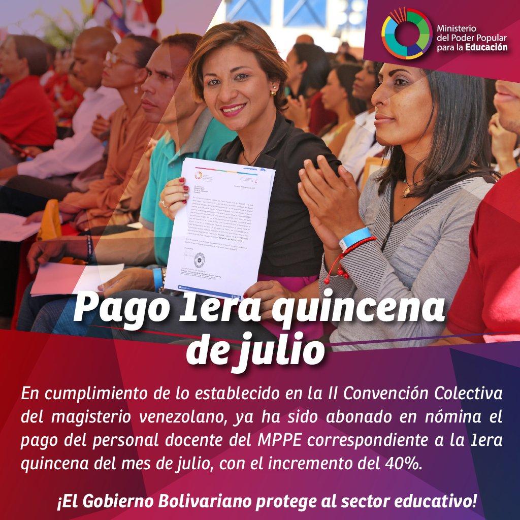 Hoy los trabajadores del MPPEDUCACION reciben la prima compensatoria del 40% establecida en la 𝑰𝑰 𝑪𝒐𝒏𝒗𝒆𝒏𝒄𝒊ó𝒏 𝑪𝒐𝒍𝒆𝒄𝒕𝒊𝒗𝒂