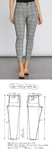 Patrones de costura para pantalones de diferentes talles