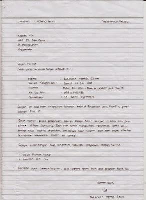 Salah satu contoh surat lamaran kerja tulis tangan yang simpel tapi baik dan benar