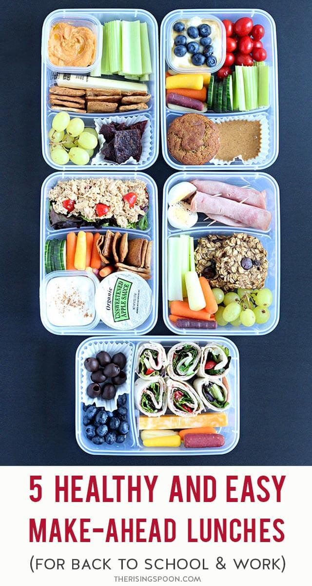 Need some quick, simple, and healthy lunches for back to school or work? I'm sharing 5 cold lunch box ideas that contain a good mix of protein, carbs & fats, along with fresh fruits & veggies to keep everyone full & satisfied. Make them ahead of time so lunchtime is budget-friendly and stress-free.