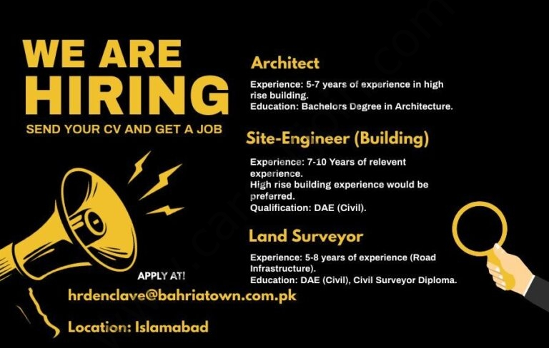 hrdenclave@bahriatown.com.pk - Bahria Town Jobs 2021 in Pakistan