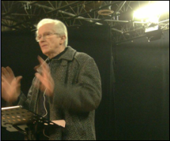 my dad, richard goetze, preaching at Presence in London Ontario, ca  2009. Photo by rob goetze (me)