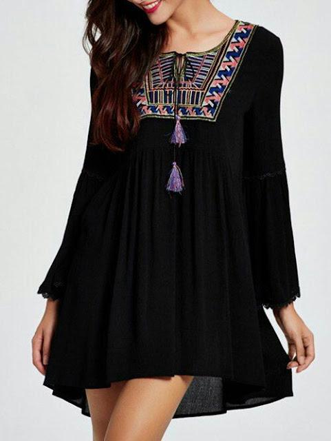 Print tassel loose mini dress