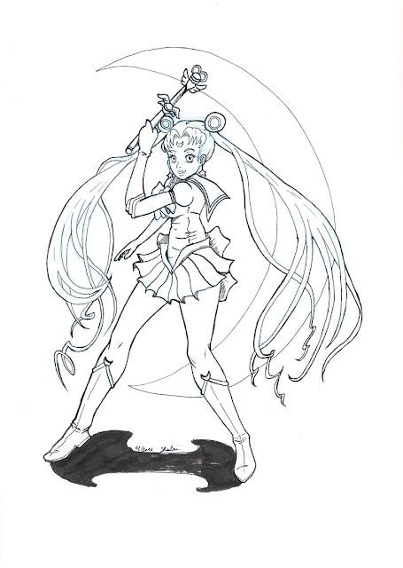 Sailor Moon - encrage sur crayonné bleu