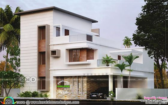 Flat roof style home plan with 4 spacious bedrooms