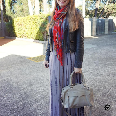 awayfromblue instagram red tartan plaid scarf leather jacket ankle boots winter layers with tie dye maxi dress