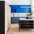 Kitchen in bold colours and geometric forms with functionality