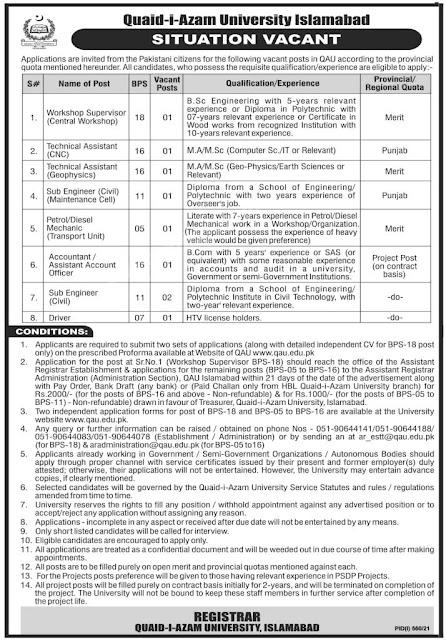 Latest Jobs at Quid e Azam University August 2021