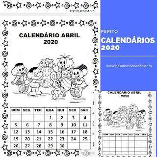 Calendário 2020 Turma da Mônica para imprimir mês de abril
