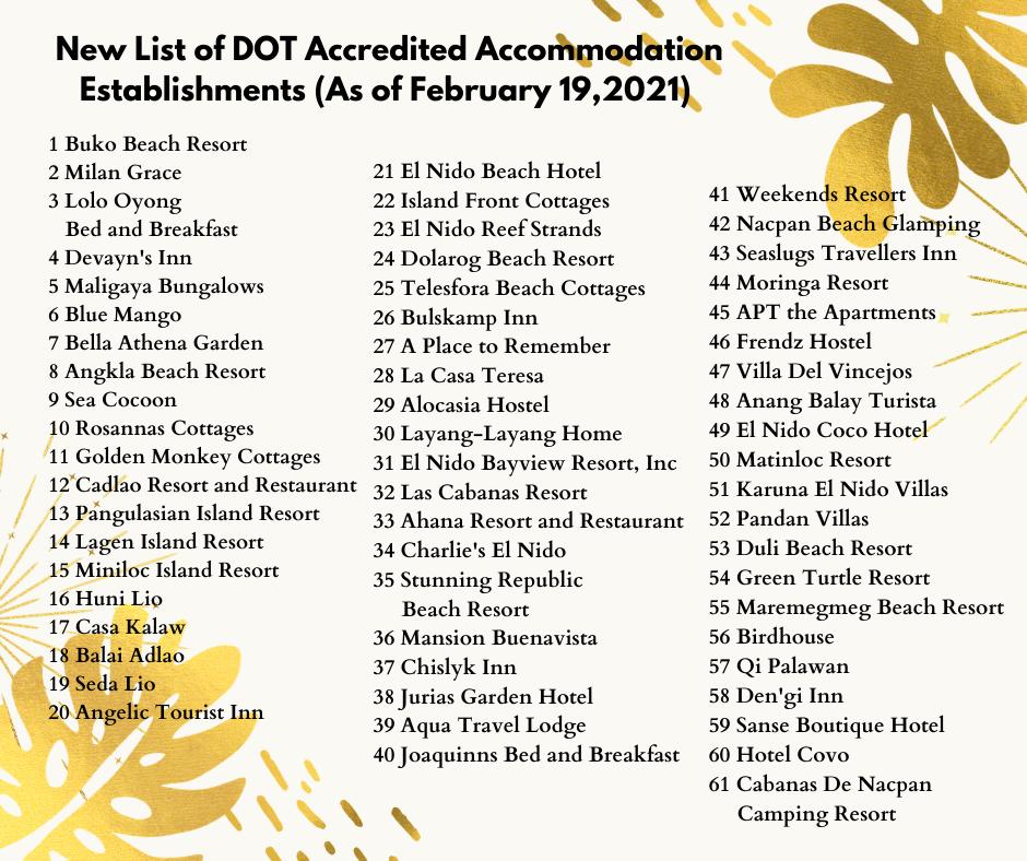 El Nido Palawan - New List of DOT Accredited Accommodation Establishments and Travel Agencies (As of February 19, 2021)