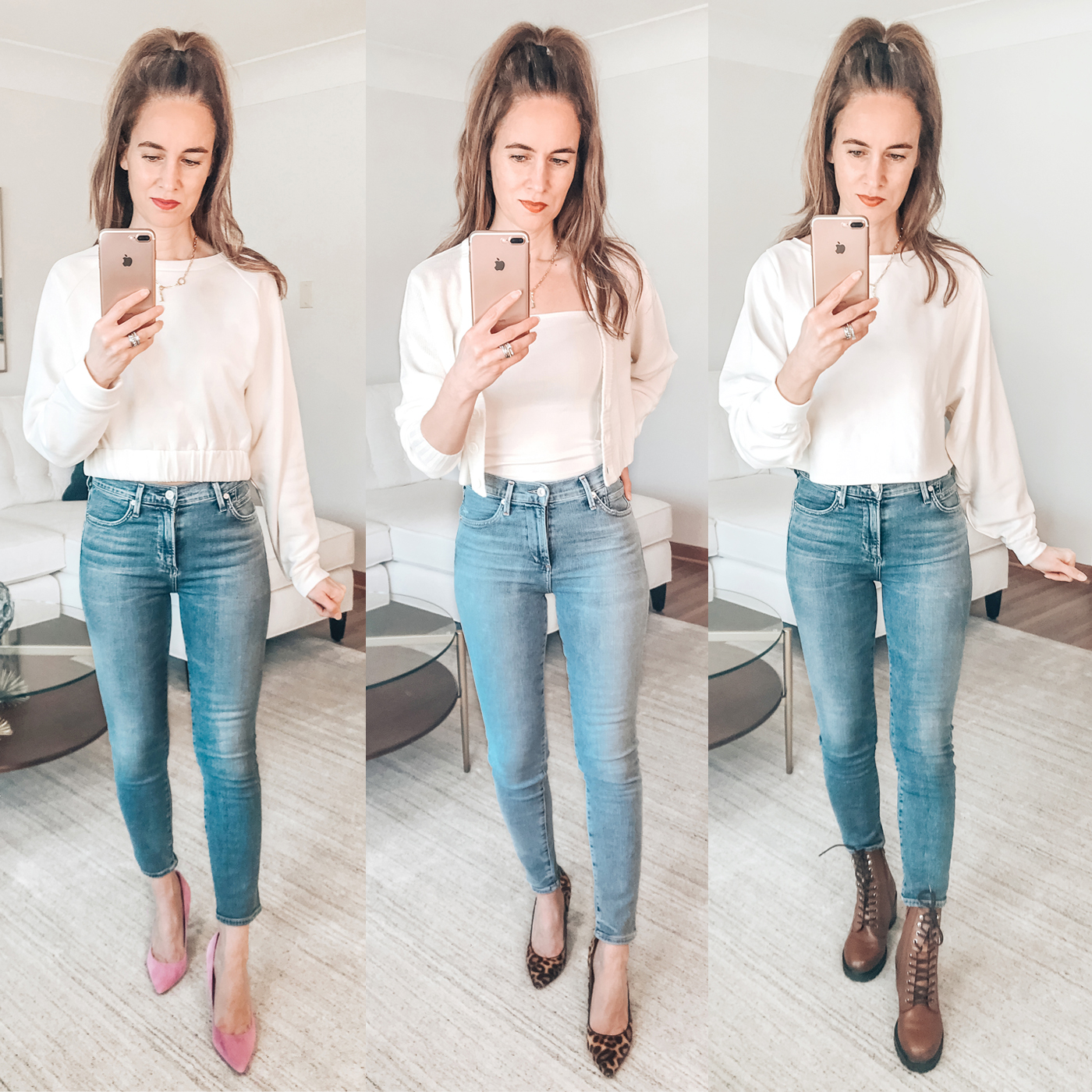 white sweatshirt, cardigan set, skinny jeans, style blogger try on session, leopard heels, combat boots