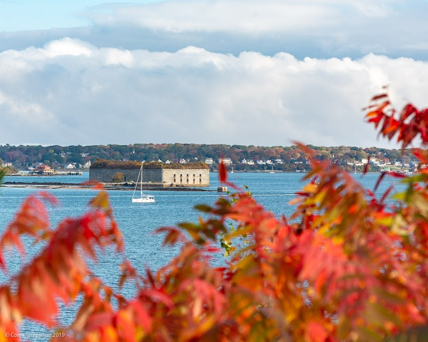 Portland, Maine USA October 2019 photo by Corey Templeton. A fall scene surrounding Fort Gorges this afternoon. From Fort Allen Park.