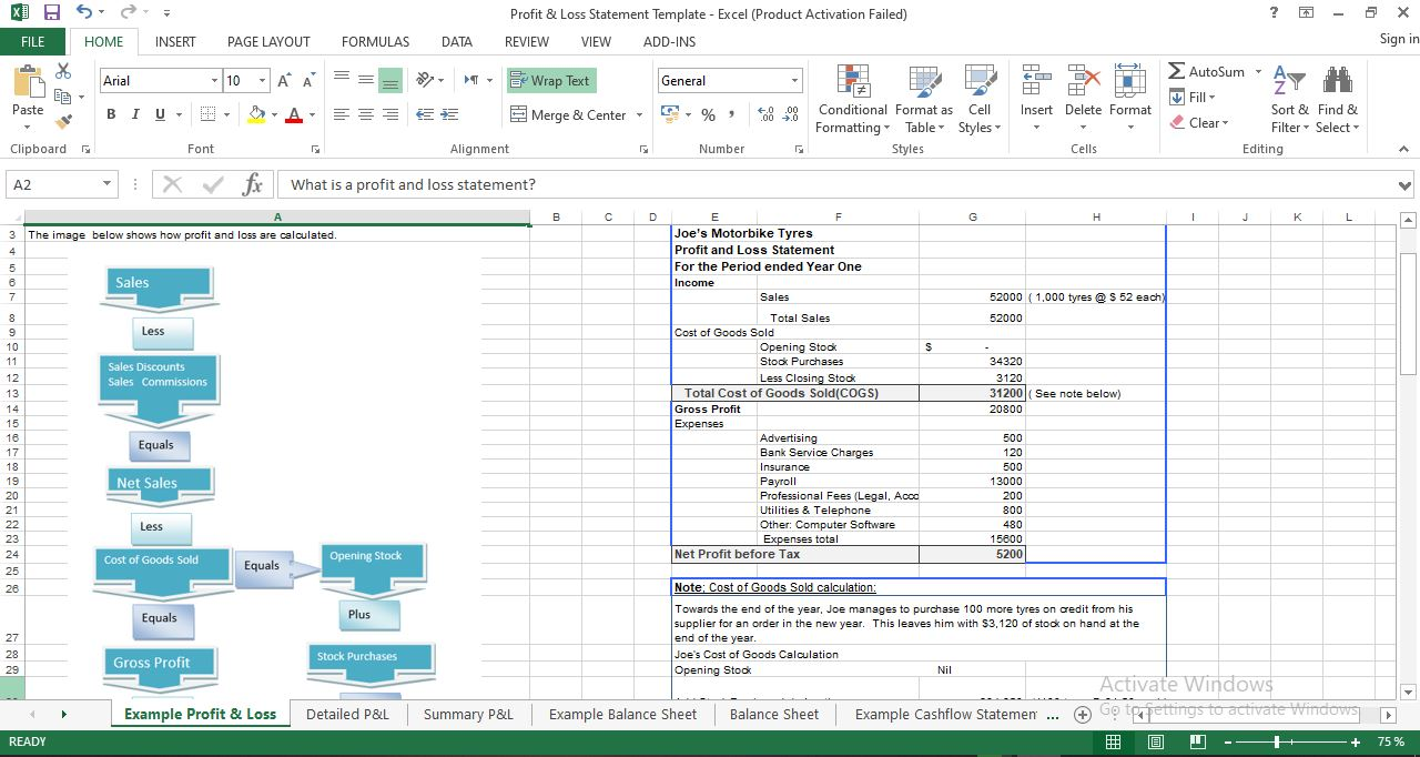 Example Profit and Loss Statement