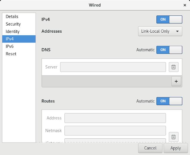 Editando a conexão cabeada (opção lateral de Configurações IPv4 foi selecionada).