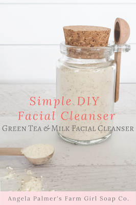 This natural, simple DIY facial cleanser recipe is easy to make, with simple kitchen ingredients. But don't think this DIY facial cleanser isn't effective--it will deeply cleanse and brighten your skin without drying. Good for sensitive skin types too! Recipe professionally formulated by Angela Palmer @ Farm Girl Soap Co.