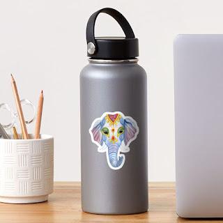 indian holi elephant sticker