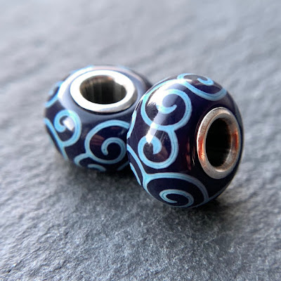 Handmade lampwork glass silver core big hole charm beads by Laura Sparling made with CiM Blueberry Muffin