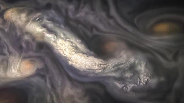 NASA publica una fantasmagórica fotografía de nubes de Júpiter