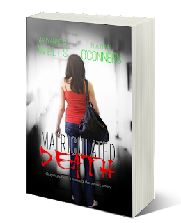 Girl in a red shirt and carrying a bookbag stands at the entrance of a mysterious hallway. Maryanne Wells. Naomi O'Connors. Matriculated Death. Origin stories of the Undead Bar Association.