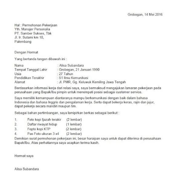 Contoh surat lamaran kerja posisi Customer service