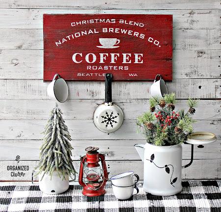 Stenciled Coffee Sign & Enamelware