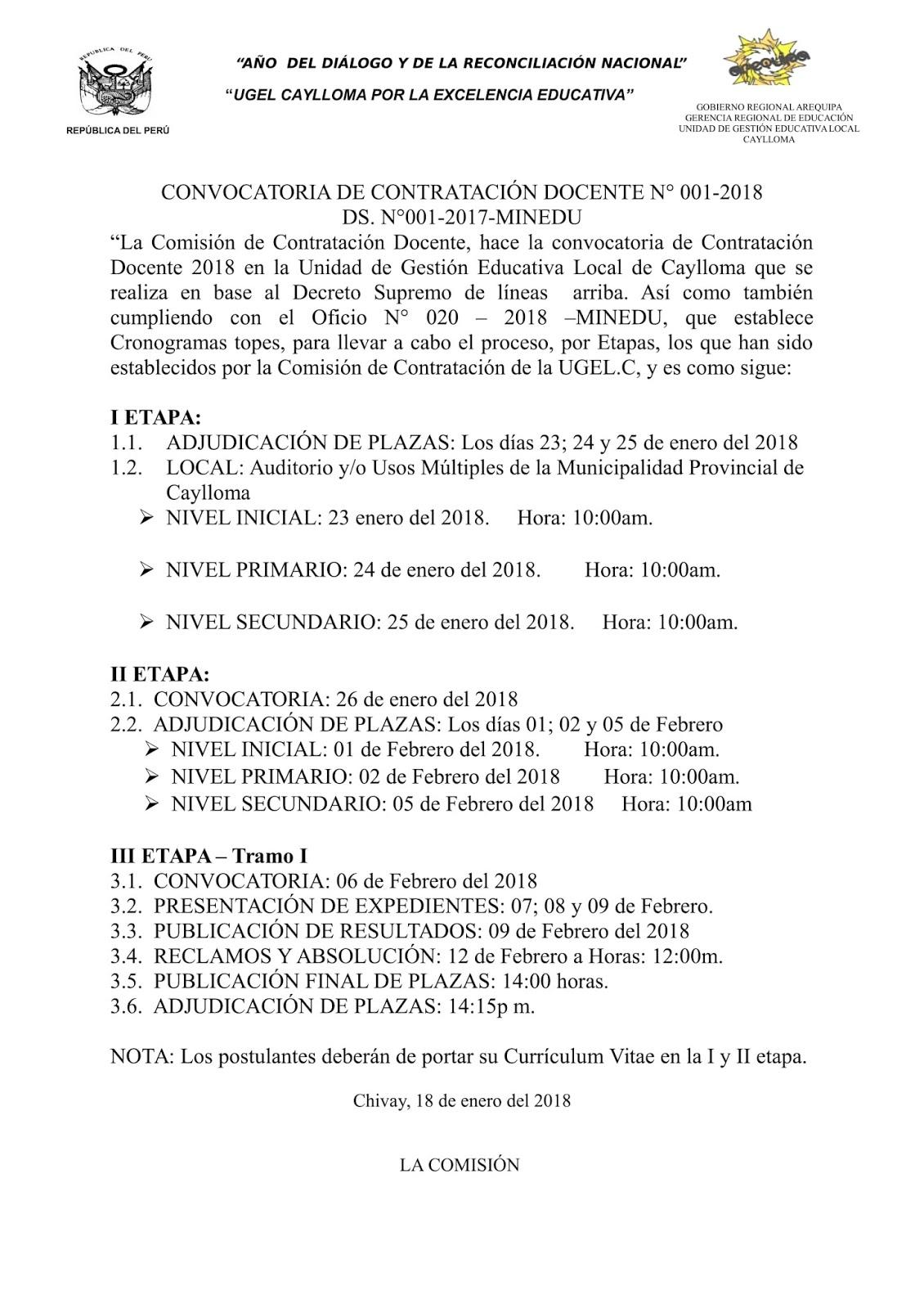 Convocatoria de contrataci n docente n 01 2018 ugel for Convocatoria para docentes