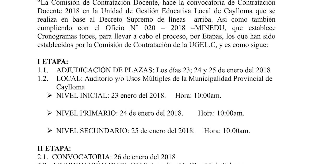 Convocatoria de contrataci n docente n 01 2018 ugel for Convocatoria para docentes 2016