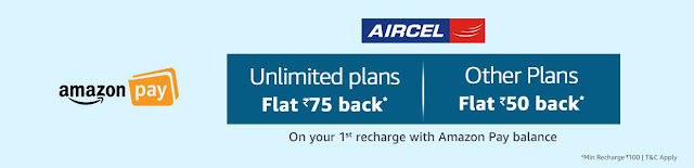 Amazon Aircel Flat 75 Offer ( Aircel Recharge Offers)