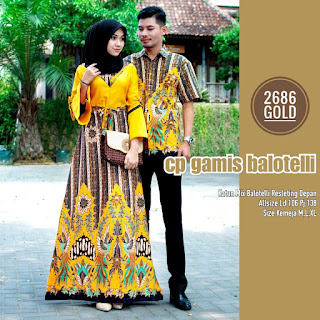 BAJU BATIK COUPLE MODEL GAMIS KATUN MIX BALOTELLY TERBARU T2686