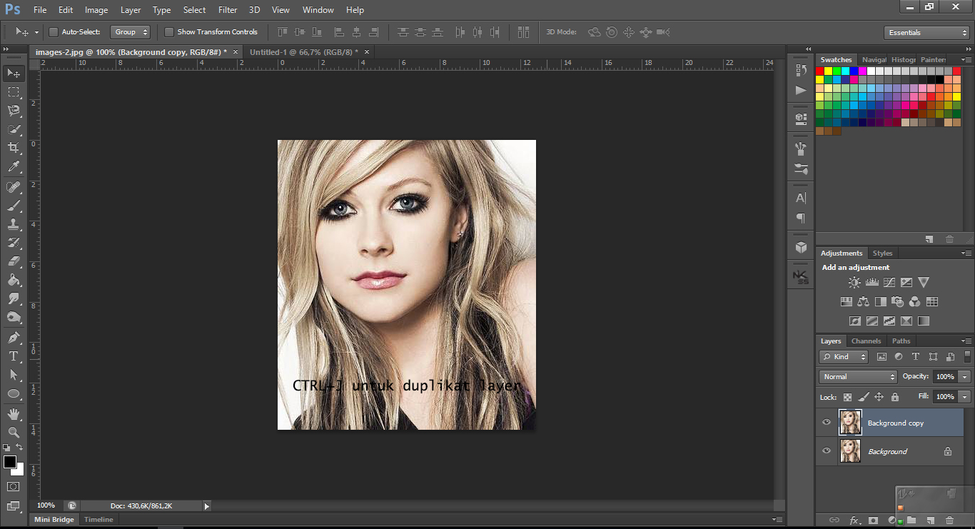 Masukan photo atau gambar yang ingin kalian jadikan pencil sketch terus duplikat layer atau klik ctrl j