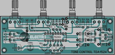 Layout Tone Control TDA 1524 PCB stereo
