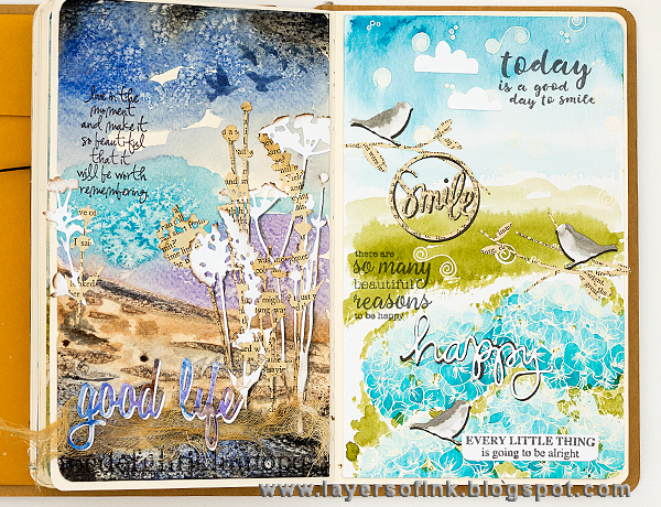 Layers of ink - Hydrangea Art Journal Page by Anna-Karin with STAMPtember stamps.