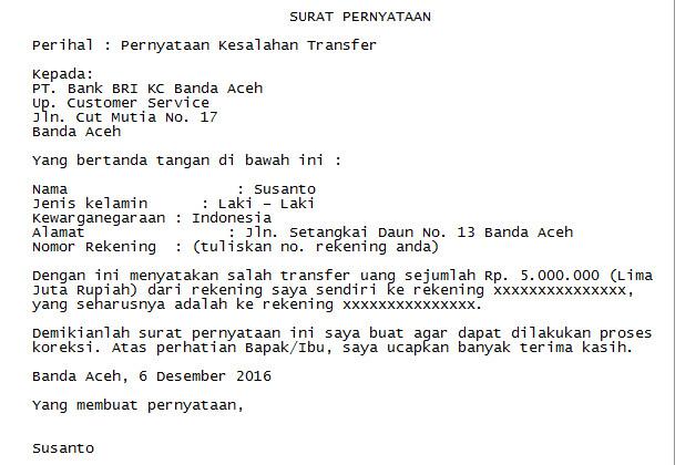 Contoh Surat Pernyataan Salah Transfer Uang Berita Jawa