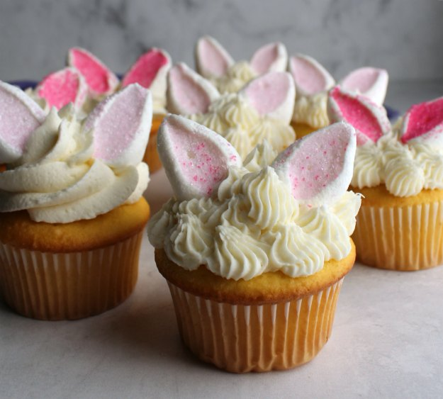 close up of group of bunny cupcakes