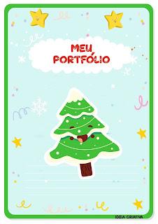 Capas de atividades portfólio com pinheirinhosde Natal